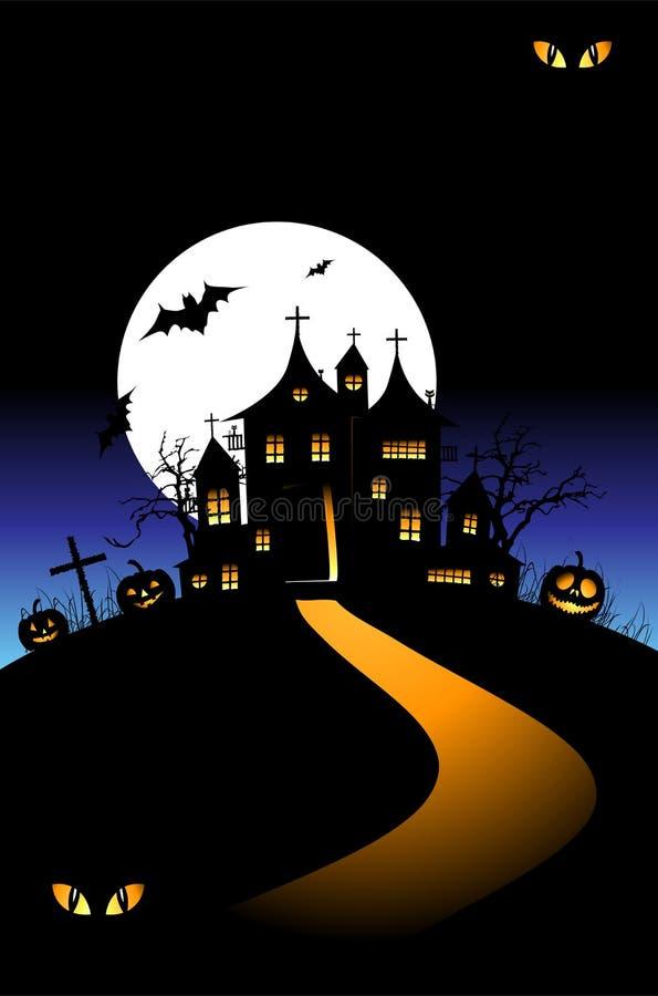 natt för hus för halloween kullferie stock illustrationer