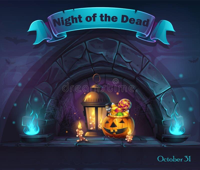 Natt för illustration för vektorallhelgonaaftontecknad film av dödaen vektor illustrationer