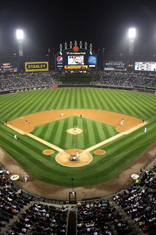 natt för major för basebollarenabaseballliga arkivbild