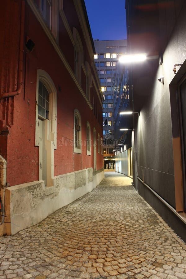 Natt i Bergen, Norge arkivbild