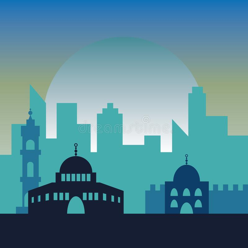 Natt i Jerusalem Judiska symbolstadsbyggnader arkivbilder