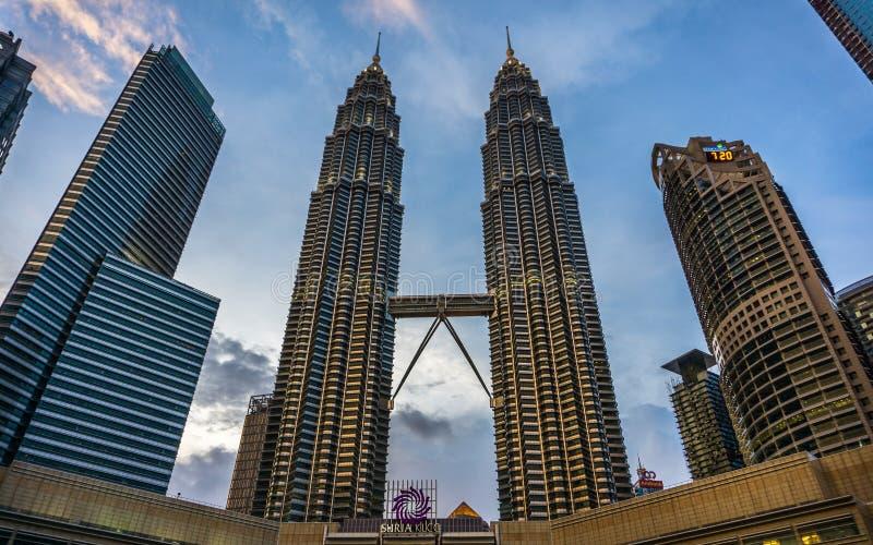 Natt i Kuala Lumpur, Malaysia arkivfoton