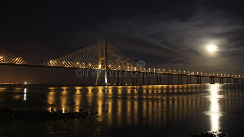 Natt i Lissabon arkivbilder