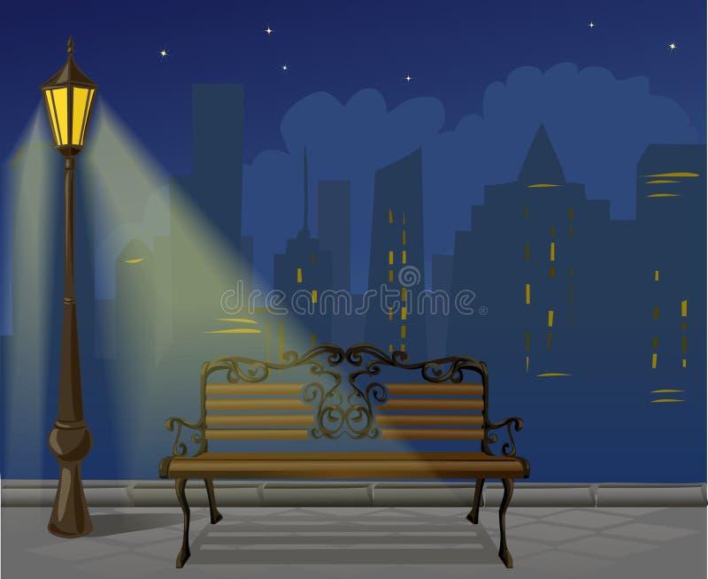 Natt i staden stock illustrationer
