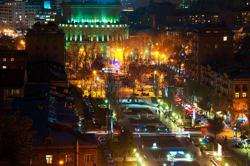 Natt i Yerevan, Armenien arkivbild