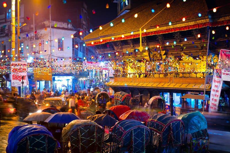 Natt Katmandu fotografering för bildbyråer