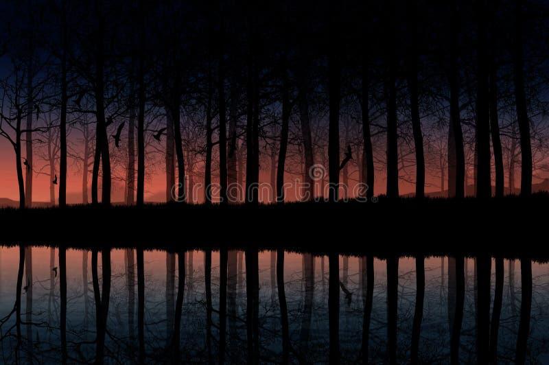 Natt med sjön och skogen arkivfoton