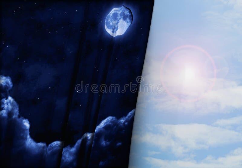 Natt och dag royaltyfri illustrationer