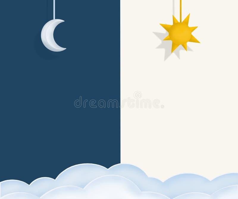 Natt- och dagorientering med solen, månen och moln stock illustrationer