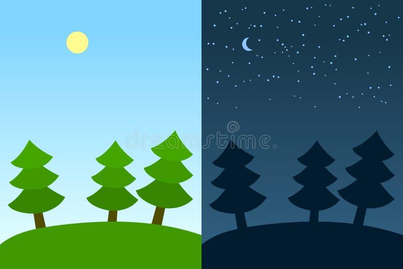 Natt- och dagplatser: skog för granträd under solen och månen, vektor royaltyfri illustrationer