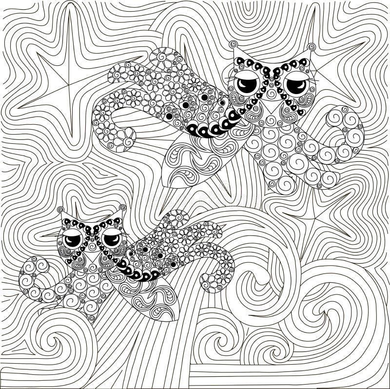 Natt och vågor för Zentova hand dragen svartvit abstrakt stjärnklar stock illustrationer