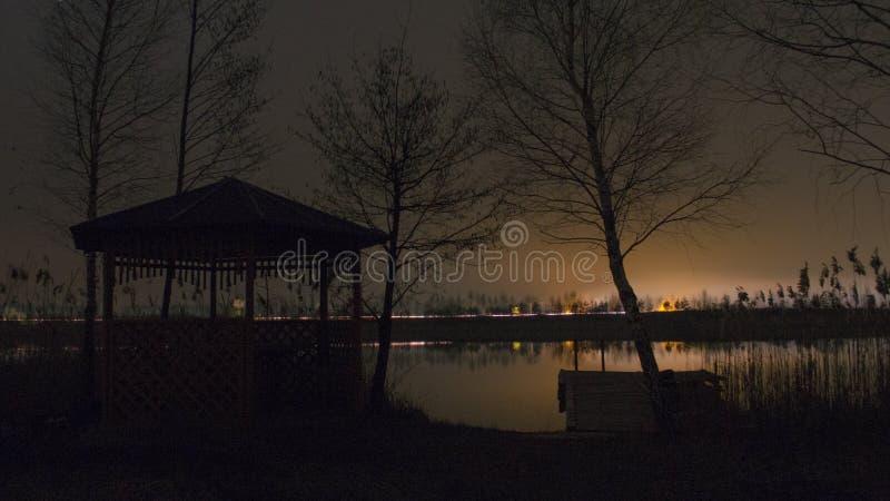 Natt på sjön fotografering för bildbyråer