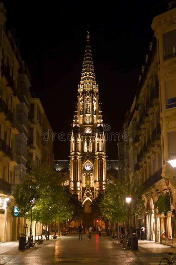 natt San Sebastian fotografering för bildbyråer