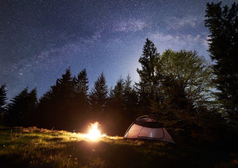 Natt som campar i berg Turist- tält vid lägereld nära skog under blå stjärnklar himmel, mjölkaktig väg fotografering för bildbyråer
