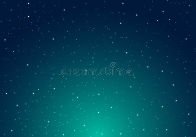 Natt som skiner himmel för stjärnklar natt med oändlighet för stjärnauniversumutrymme och stjärnljus på bakgrund för blå himmel G stock illustrationer