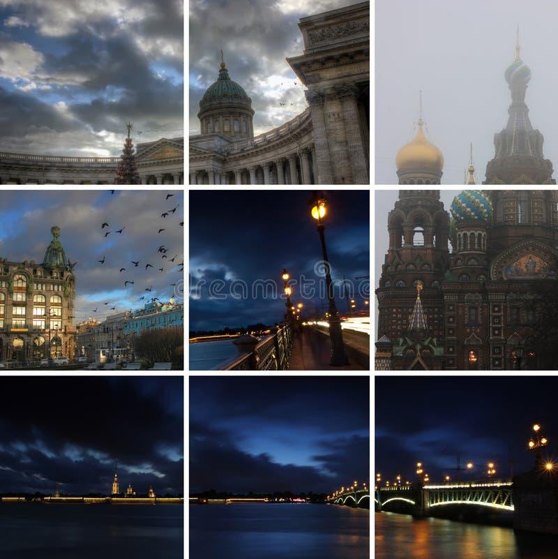 Natt St Petersburg, Ryssland arkivbild