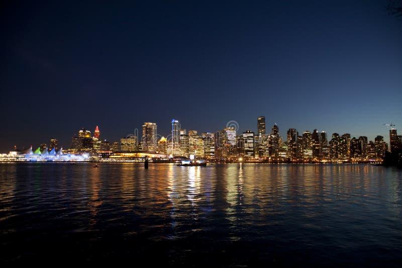 Natt Vancouver Fotografering för Bildbyråer