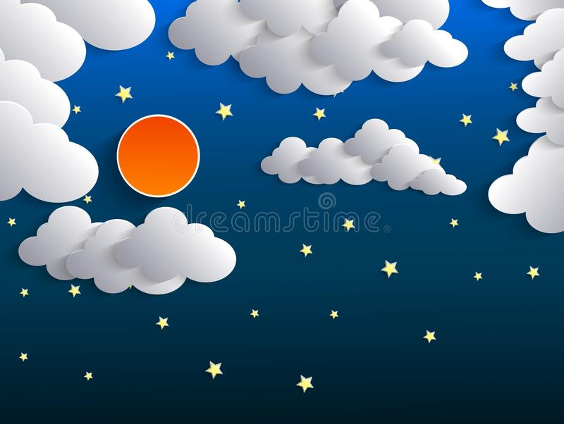 Nattbakgrund, måne, moln och stjärnor på mörker - blå himmel stock illustrationer