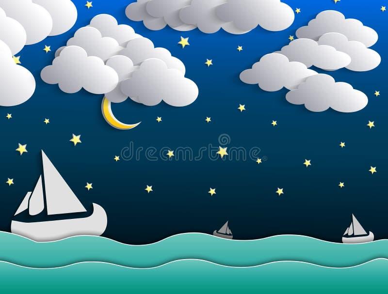 Nattbakgrund, måne, moln och stjärnor på mörker - blå himmel på havet stock illustrationer