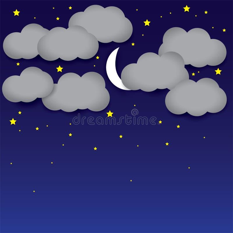 Nattbakgrundsvitbok fördunklar, natthimmel, månen, stjärnor vektor illustrationer