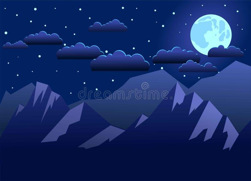 Nattberg exponerade av m?nen, molnen f?r natthimmel och stj?rnor I bl?a signaler Plan stil ocks? vektor f?r coreldrawillustration vektor illustrationer