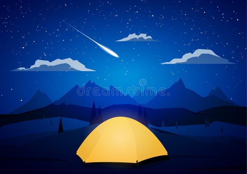 Nattberglandskapet med tält campar och meteor vektor illustrationer