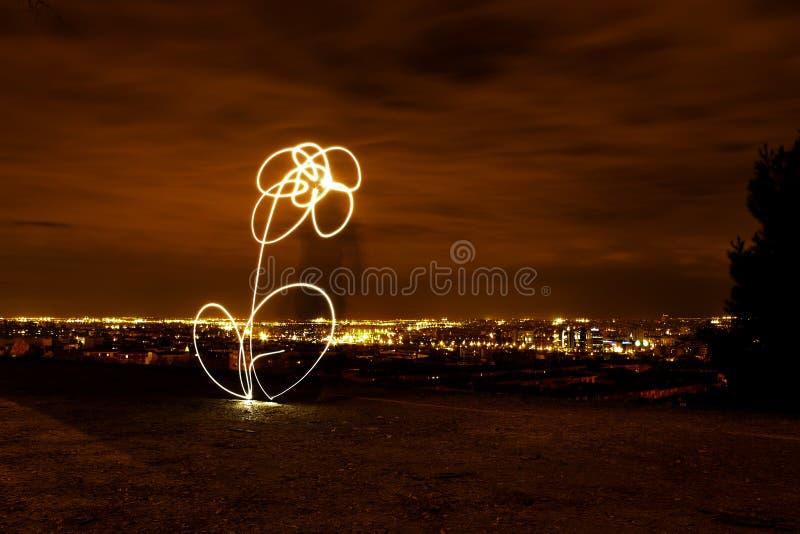 Nattbild med en målad blomma av ljus royaltyfria bilder