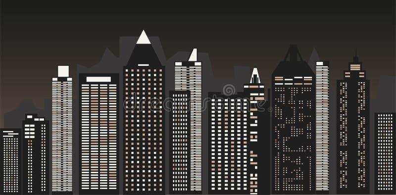 Nattcityscape mot bakgrunden av natthimlen En l?ng stadsgata med ljus p? ocks? vektor f?r coreldrawillustration royaltyfri illustrationer