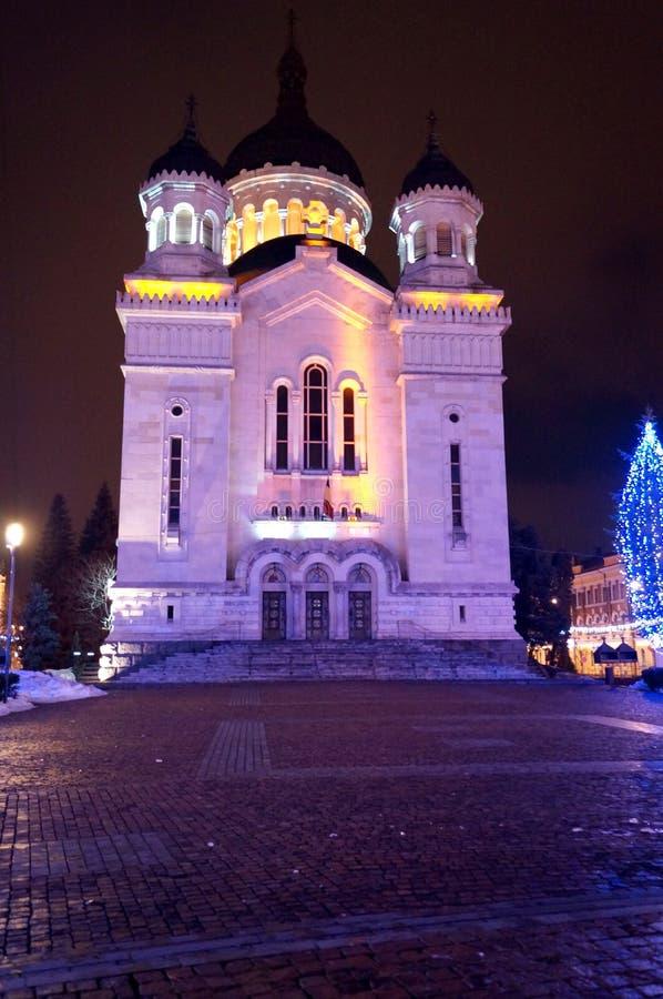 Nattdomkyrka i Cluj Napoca royaltyfria foton