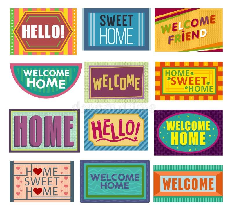 Natte à la maison d'accueil de vecteur de tapis devant la couverture de nattes d'entrée et de porte de maison pour le ménage d'il illustration libre de droits