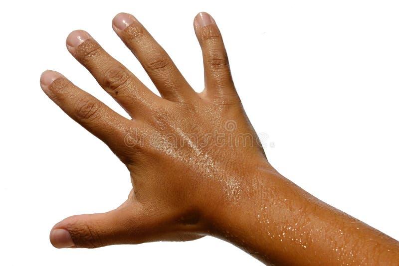 Natte gelooide hand van tien jaar oude jongens met uitgerekte vingers op witte achtergrond royalty-vrije stock afbeeldingen