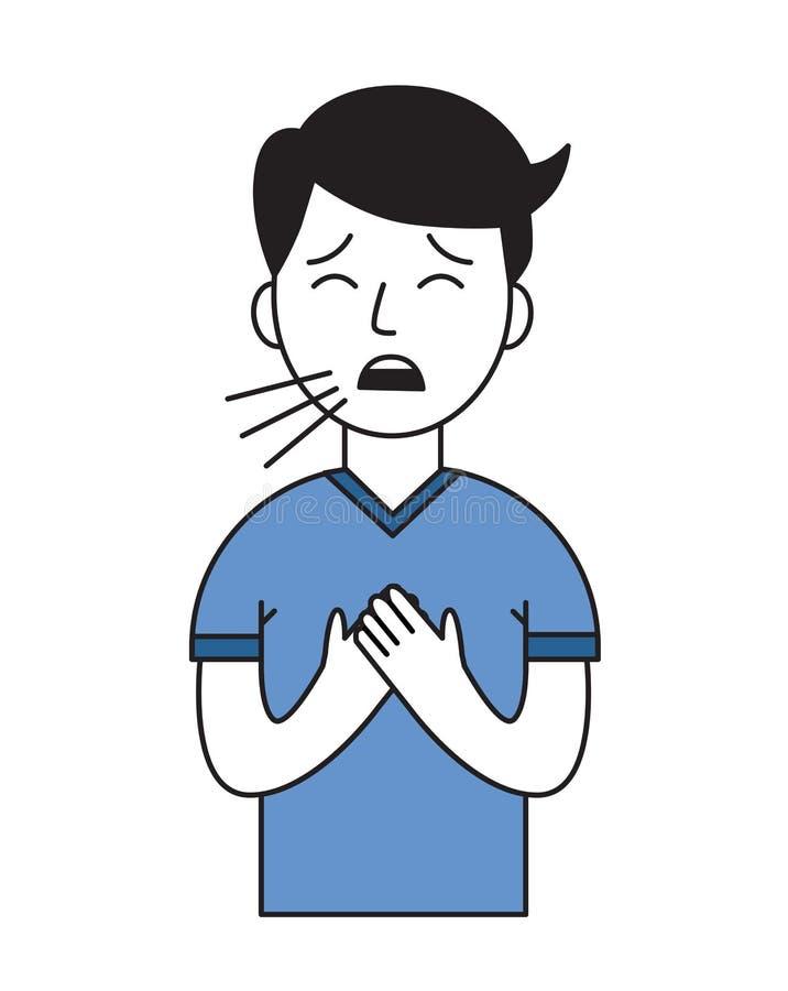 Natte hoest Zieke jongen Vlak ontwerppictogram Vlakke vectorillustratie Geïsoleerdj op witte achtergrond vector illustratie