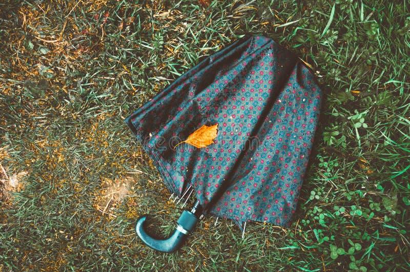 Natte paraplu en droog geel blad die op de de herfstgrond liggen, grasachtergrond Dalingsseizoen, concept Het symbool van de lief stock foto's