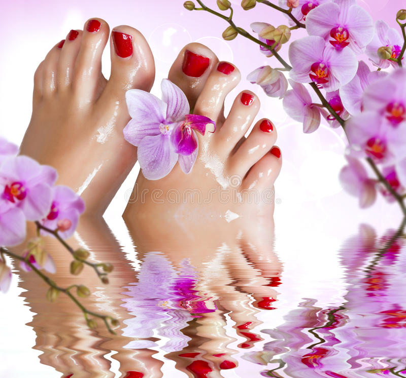 Natte voeten met orchidee boven het water. royalty-vrije stock foto's
