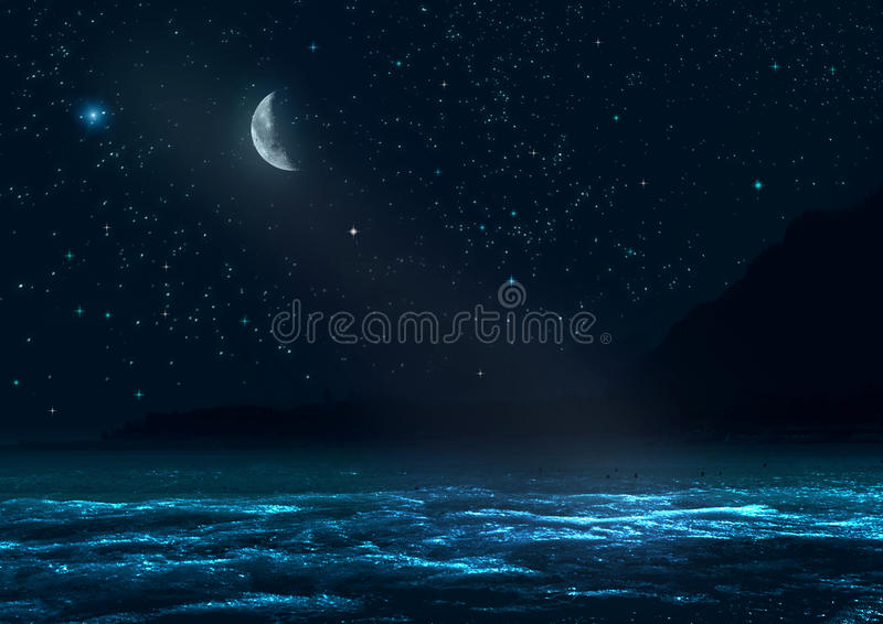 Natten landskap royaltyfri fotografi