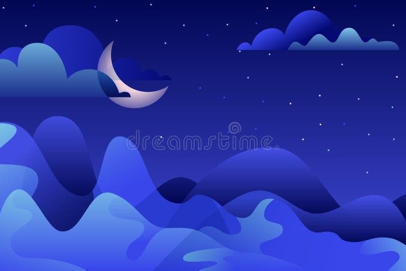 Natten landskap, vektorillustrationen Blå berg och måne på himmel Naturhorisontalbakgrund med kopieringsutrymme royaltyfri illustrationer