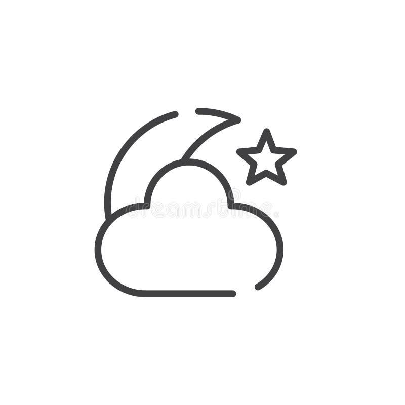 Natten med månestjärnor och molnet fodrar symbolen stock illustrationer