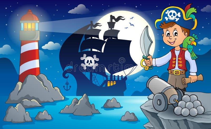 Natten piratkopierar landskap 7 stock illustrationer