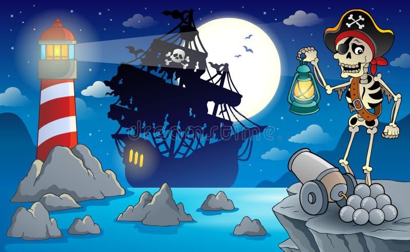 Natten piratkopierar landskap 2 stock illustrationer