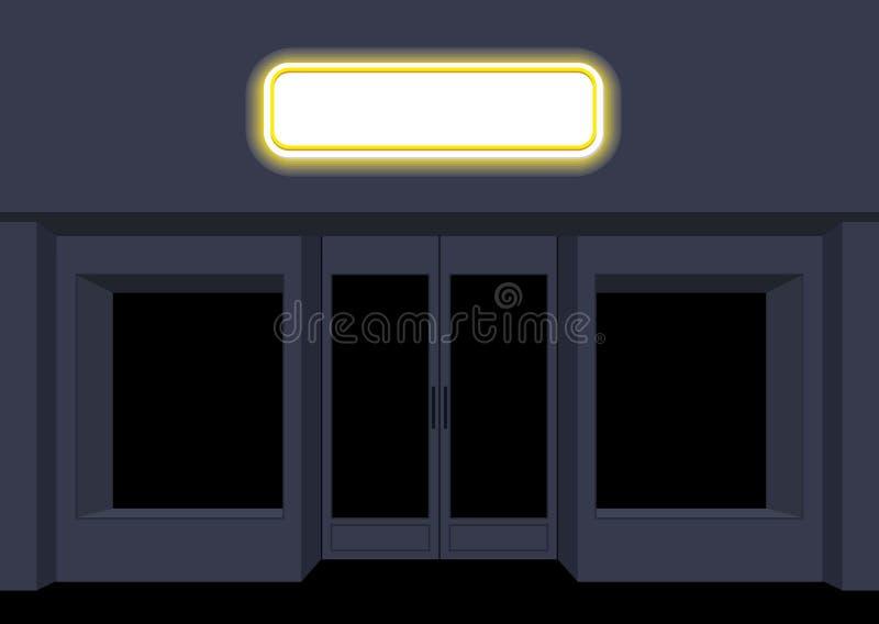Natten shoppar stads- shoppa Skyltfönster på natten Töm svart stock illustrationer