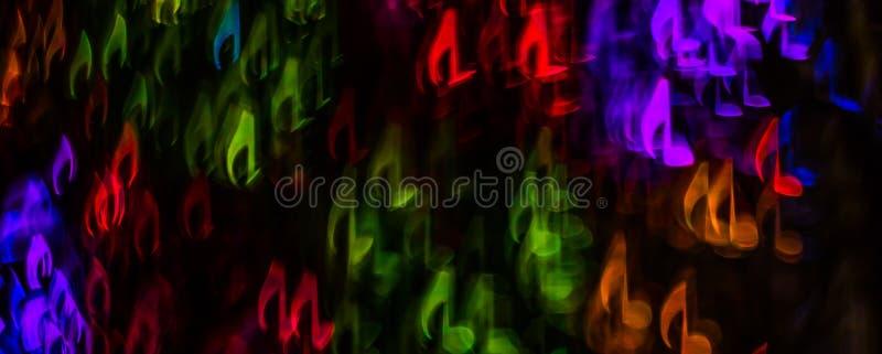 Natten tänder bokeh formad notblad, defocused bokehljus, bl royaltyfri bild