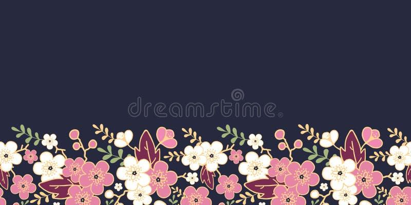 Natten trädgårds- sakura blomstrar horisontalsömlöst vektor illustrationer