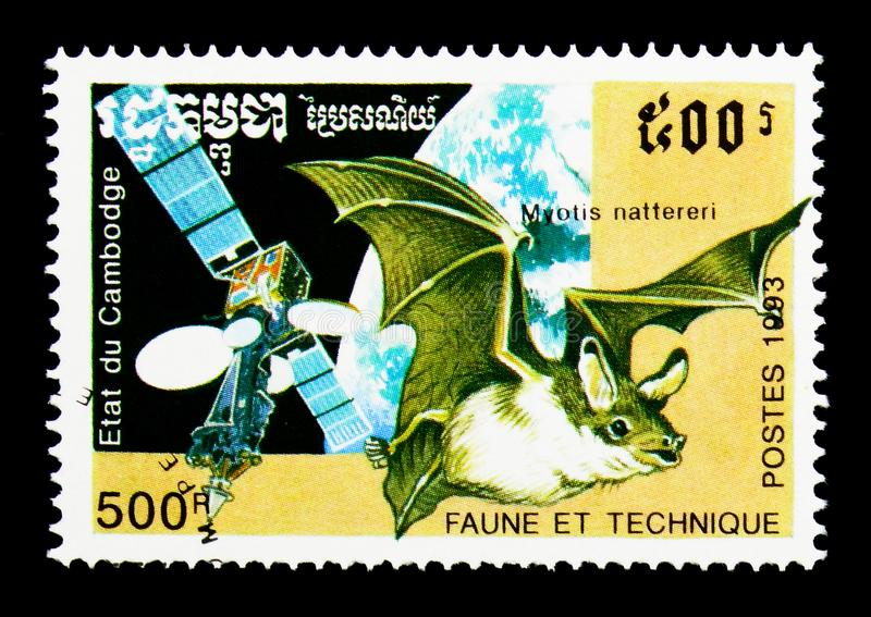 Natterer`s Bat Myotis nattereri, Satellite, Fauna and Technics serie, circa 1993. MOSCOW, RUSSIA - NOVEMBER 24, 2017: A stamp printed in Cambodia shows Natterer` stock images