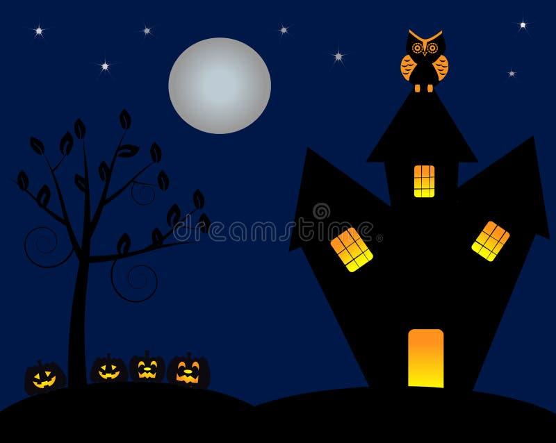 Nattetid på holloweendagen stock illustrationer