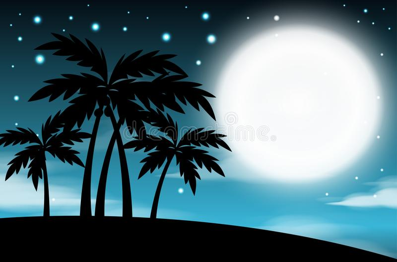 Nattetidhimmelbakgrund med fullmånen och träd, moln och stjärnor abstrakt natt för fractalbildmånsken stock illustrationer