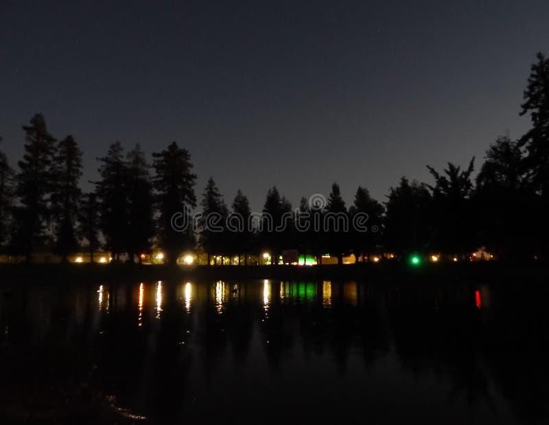 Nattetidplatser med en reflexion royaltyfri bild