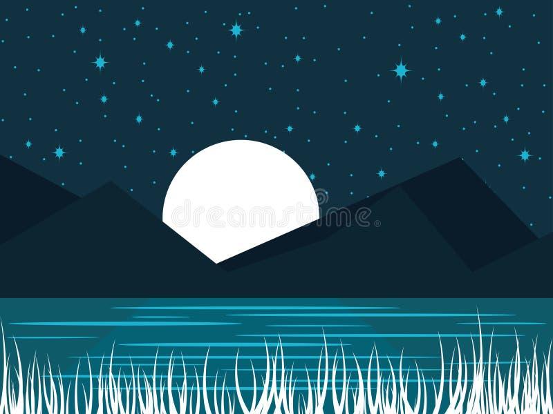 Nattflodlandskap med en fullmåne Midnatt sjö med månsken vektor royaltyfri illustrationer