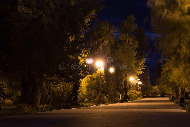 Nattgränden av det gammalt parkerar förutom staden arkivbild