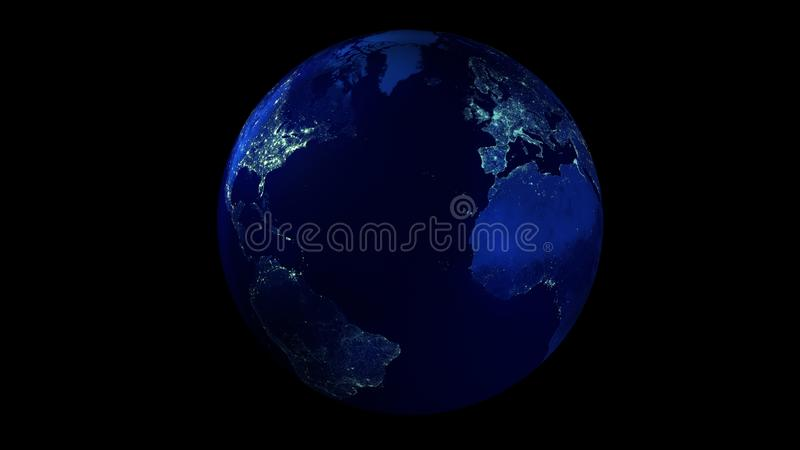 Natthalvan av jorden från utrymmevisningnord och Sydamerika, Europa och Afrika royaltyfri illustrationer