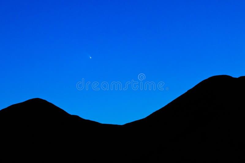 Natthimmel för komet C2011 L4 PanSTARRS efter solnedgång royaltyfria bilder